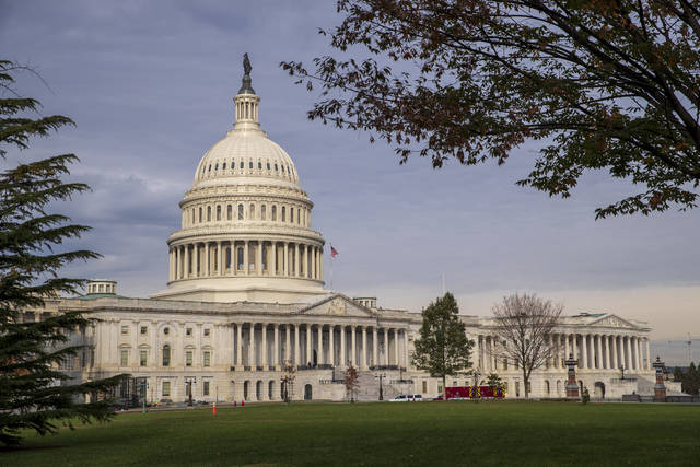 The Capitol is seen in Washington, Monday, Nov. 12, 2018, before Congress returns to work Tuesday for the first time following the midterm elections. (AP Photo/J. Scott Applewhite)
