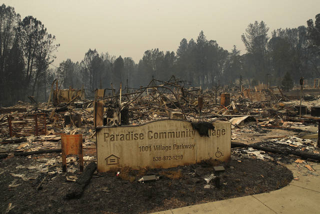 FILE- In this Tuesday, Nov. 13, 2018 file photo a sign stands at a community destroyed by the Camp fire in Paradise, Calif. Most homes are gone, as are hundreds of shops and other buildings. The supermarket, the hardware store, Dolly-O-Donuts & Gifts where locals started their day with a blueberry fritter and a quick bit of gossip, all gone. The town quite literally went up in smoke and flames in the deadliest, most destructive wildfire in California history. (AP Photo/John Locher, File)