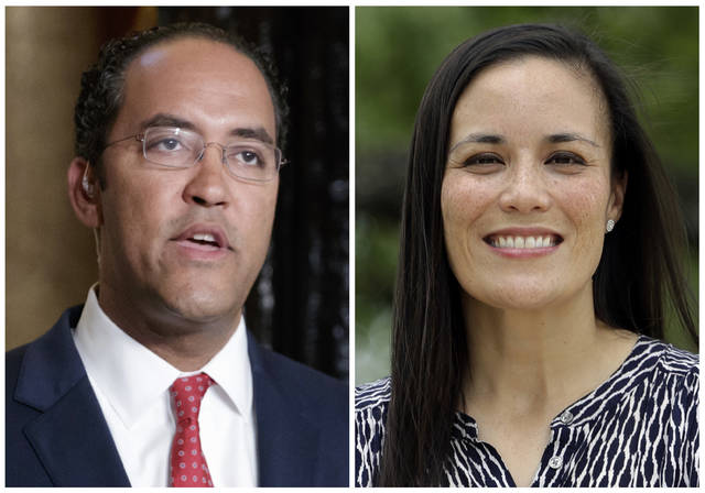 FILE - This combination of file photos shows candidates for Texas' 23rd District Congressional seat in the November 2018 election from left, incumbent GOP Rep. Will Hurd and Democrat Gina Ortiz Jones. Ortiz Jones has headed to Washington for congressional orientation even though she trails incumbent Hurd by 1,000 votes in their contested race to represent a sprawling West Texas district. The race is close enough that Ortiz Jones could seek a recount. She is about 1,000 votes behind Hurd out of around 209,000 counted. She hasn't so far, instead seeking to have more provisional votes counted. (AP Photo/File)