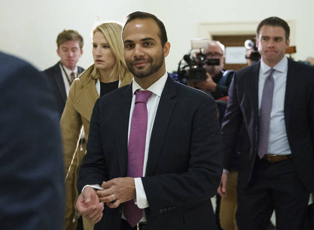 FILE - In this Oct. 25, 2018, file photo, George Papadopoulos, the former Trump campaign adviser who triggered the Russia investigation, arrives for his first appearance before congressional investigators, on Capitol Hill in Washington. A judge has rejected an effort by former Trump campaign foreign policy adviser Papadopoulos to delay his two-week prison term and says Papadopoulos must surrender Monday, Nov. 26, as scheduled. (AP Photo/Carolyn Kaster, File)