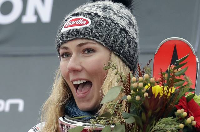 United States' Mikaela Shiffrin celebrates after winning the alpine ski, women's World Cup slalom in Killington, Vt., Sunday, Nov. 25, 2018. (AP Photo/Charles Krupa)