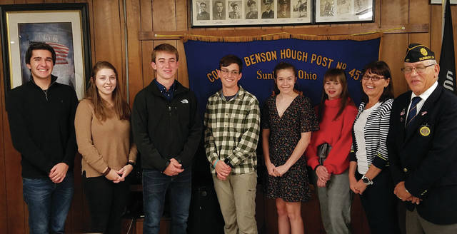 Pictured left to right: Ben Momeni, Hannah Kaiser, Mitchell Gifford, Jonny Gartner, Julia Wood, Penny Yuhas, Kim Walker, Boys/Girls State Chair and Scott Bloch, Post 457 Commander. (Not pictured: Ruthann Armbrust, Isaac Hedges & Sydney Shadik.)