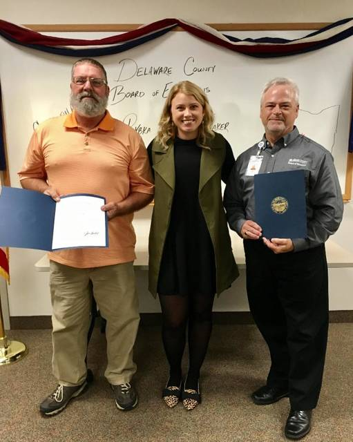 "Regional Liaison Rebecca Stanfill with ""Red Carpet Award"" Winners from Delaware County. Pictured from left to right, Larry Fraker, Rebecca Stanfill, John Rybka."