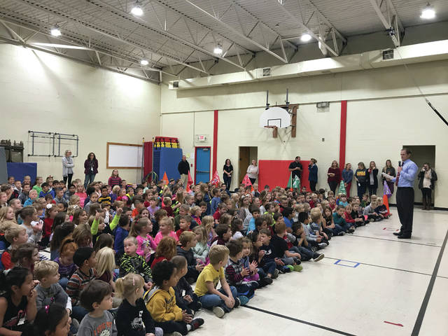 Souders students at an assembly for the contest.