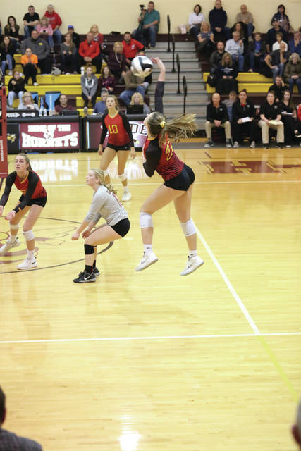 The Big Walnut High School Girls Varsity Volleyball team in tournament action.