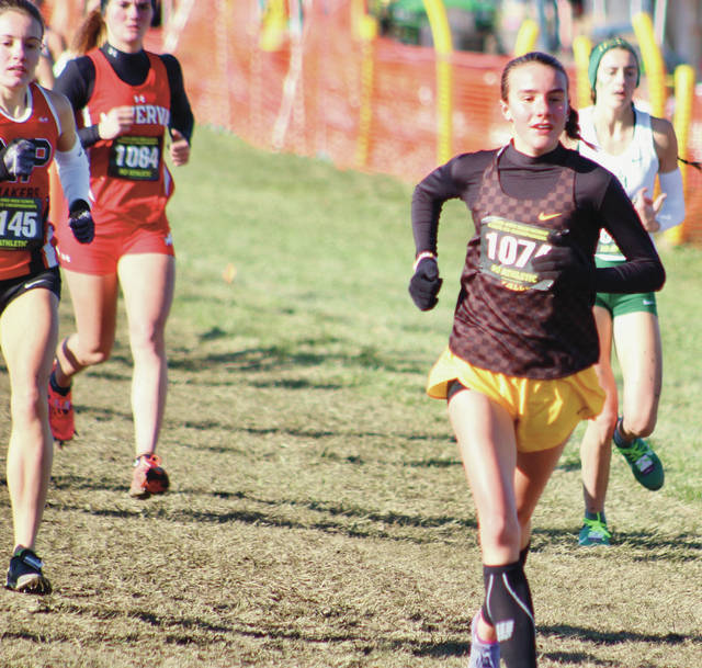 Buckeye Valley's Chloe Dawson competes in Saturday's OHSAA State Cross Country Championships in Hebron.