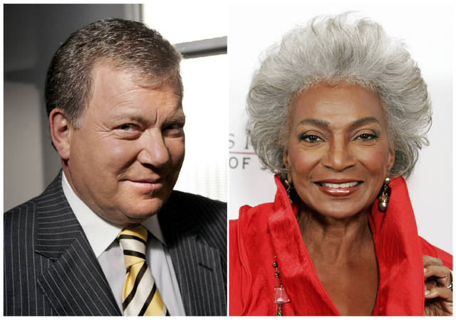 """This combination photo shows actor William Shatner on the set of ABC's """"Boston Legal"""" in Manhattan Beach, Calif., on Sept. 13, 2004, left, and actress Nichelle Nichols attending an all-star tribute concert for jazz icon Herbie Hancock in Los Angeles on Oct. 28, 2007. Fifty years ago, one year after the U.S. Supreme Court declared interracial marriage was legal, two of science fiction's most enduring characters, Captain James T. Kirk, played by Shatner and Lieutenant Nyota Uhura, played by Nichols, kissed each other on """"Star Trek."""" (AP Photo)"""