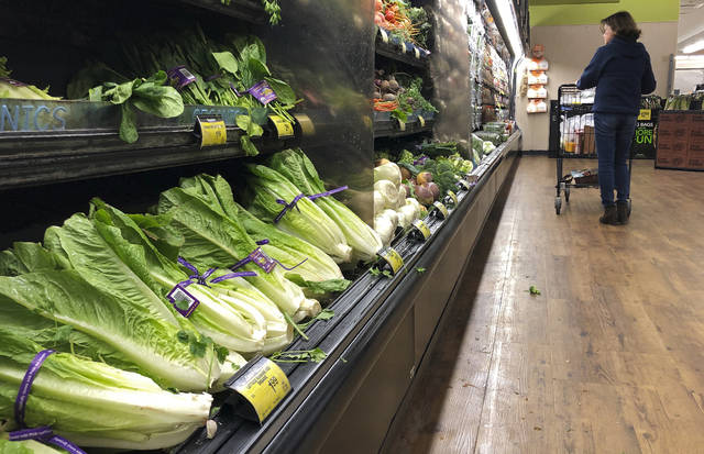 FILE - In this Nov. 20, 2018 file photo, romaine lettuce sits on the shelves as a shopper walks through the produce area of an Albertsons market in Simi Valley, Calif.  After repeated food poisoning outbreaks linked to romaine lettuce, the produce industry is confronting the failure of its own safety measures in preventing contaminations. The latest outbreak underscores the challenge of eliminating risk for vegetables grown in open fields and eaten raw. It also highlights the role of nearby cattle operations and the delay of stricter federal food safety regulations.  (AP Photo/Mark J. Terrill, File)