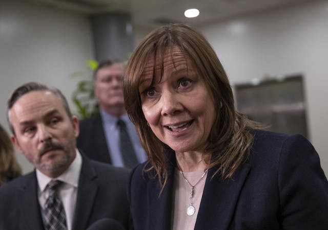 General Motors CEO Mary Barra speaks to reporters after meeting with the Michigan congressional delegation to discuss plans for the massive restructuring by the Detroit-based automaker, on Capitol Hill in Washington, Thursday, Dec. 6, 2018. (AP Photo/J. Scott Applewhite)