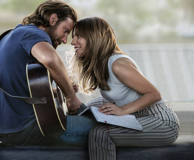 "This image released by Warner Bros. Pictures shows Bradley Cooper, left, and Lady Gaga in a scene from ""A Star is Born."" The cast was nominated for a SAG Award for best ensemble. The SAG Awards will be held Jan. 27 and broadcast live by TNT and TBS. This year's show will honor Alan Alda with the Screen Actors Guild Life Achievement Award. (Warner Bros. Pictures via AP)"