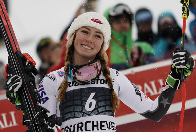United States' Mikaela Shiffrin reacts in the finish area after winning a ski World Cup women's Giant Slalom race, in Courchevel, France, Friday, Dec. 21, 2018. (AP Photo/Giovanni Auletta)
