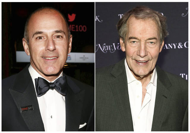 "This combination photo shows Matt Lauer, former co-host of the ""Today"" show, left, and Charlie Rose, former co-host of ""CBS This Morning."" A year after morning news shows at NBC and CBS abruptly lost male anchors Lauer  and Rose in sexual misconduct scandals, the ""Today"" show has done appreciably better weathering the storm. (AP Photo)"