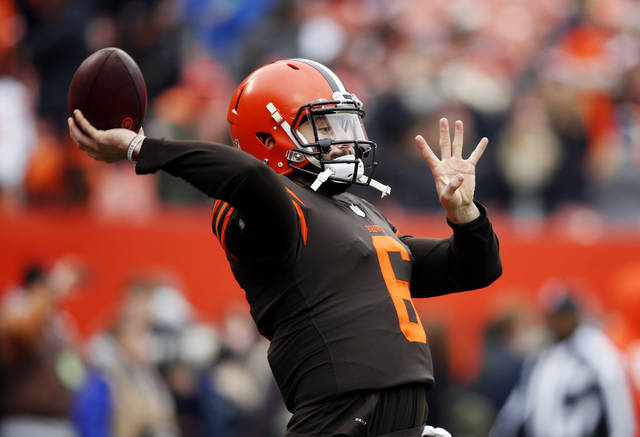 Cleveland Browns quarterback Baker Mayfield warms up before an NFL football game against the Cincinnati Bengals, Sunday, Dec. 23, 2018, in Cleveland. (AP Photo/Ron Schwane)