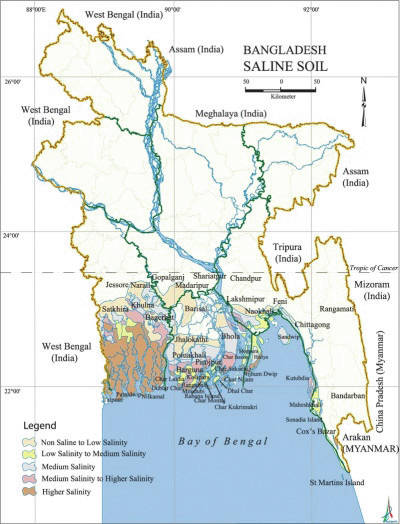 This map of Bangladesh shows saline soil levels.