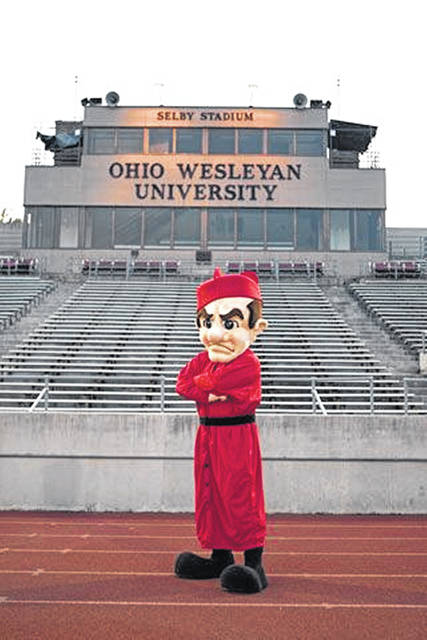 The Battling Bishop mascot at Selby Stadium.