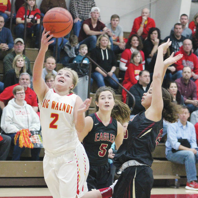 Big Walnut's Erin Boehm (2) puts in a layup during Friday's (Dec. 14) game against visiting New Albany.