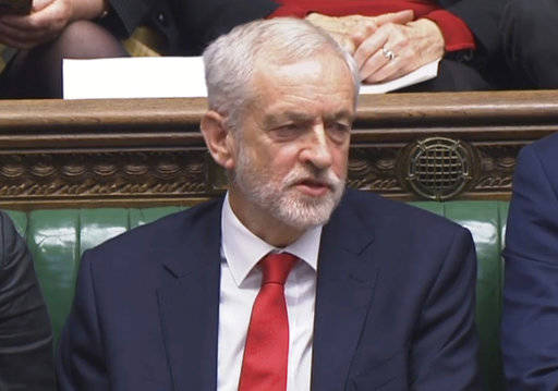 Labour leader Jeremy Corbyn says something under his breath after the British Prime Minister Theresa May likened Labour's attempt to table a no confidence motion in her to a pantomime, during the weekly Prime Minister's Questions in the House of Commons, London, Wednesday Dec. 19, 2018.  With 100 days until Britain leaves the European Union, the government was publishing long-awaited plans Wednesday for a post-Brexit immigration system that will end free movement of EU citizens to the U.K. (House of Commons/PA via AP)