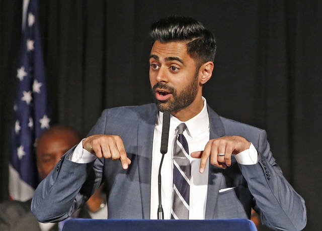 "FILE - In this May 10, 2017 file photo, Muslim-American comedian Hasan Minhaj cracks jokes for the audience after New York Mayor Bill de Blasio proclaimed May 10th as ""Hasan Minhaj Day,"" at Gracie Mansion, in New York. In December 2018, Netflix is facing criticism for pulling an episode, from viewing in Saudi Arabia of Minhaj's ""Patriot Act"" that lambasted Saudi Crown Prince Mohammed bin Salman over the killing of writer Jamal Khashoggi and the Saudi-led war in Yemen. (AP Photo/Kathy Willens, File)"