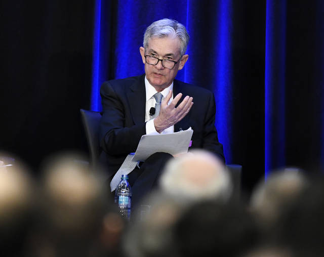 Federal Reserve Chairman Jerome Powell speaks at a conference, Friday, Jan. 4, 2019, in Atlanta. Powell said that he will not resign if asked to do so by President Donald Trump, a message that heartened investors who had been concerned by Trump's repeated attacks on his hand-picked choice to lead the nation's central bank. (AP Photo/Annie Rice)