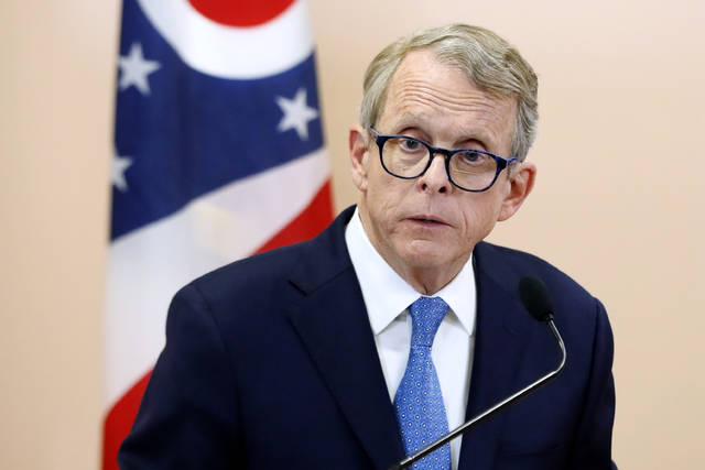 "FILE- In this Nov. 13, 2018, file photo Ohio Attorney General Mike DeWine speaks during a news conference in Waverly, Ohio. Several drug manufacturers targeted in lawsuits over the nation's opioid epidemic have asked a federal judge in Cleveland to sanction the man who is Ohio's attorney general and governor-elect, along with two other lawyers, for statements they made in recent television interviews. The motion Friday, Jan. 4, 2019, said statements by Republican Attorney General and Gov.-elect Mike DeWine and the others on an episode of CBS' ""60 Minutes"" were calculated to taint potential jury pools, Cleveland.com reported. (AP Photo/John Minchillo, File)"