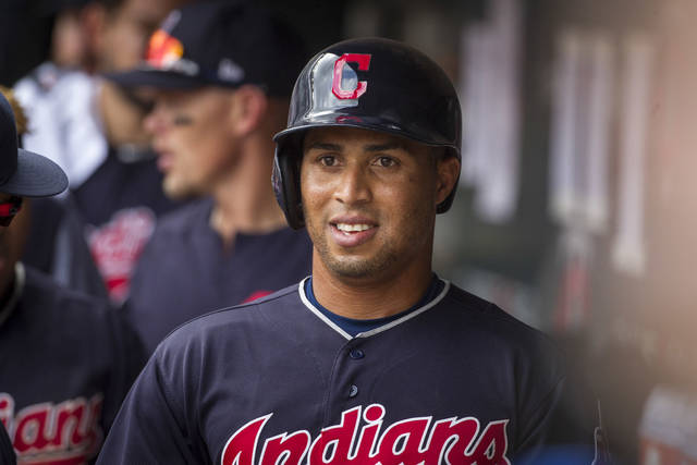 FILE - In this Aug. 1, 2018, file photo, Cleveland Indians' Leonys Martin celebrates his run against the Minnesota Twins in the ninth inning of a baseball game in Minneapolis. Martin feels blessed to be alive after recovering from a life-threatening bacterial infection last summer. He spoke to the media Friday, Jan. 11, 2019, for the first time since the health scare. (AP Photo/Bruce Kluckhohn, File)