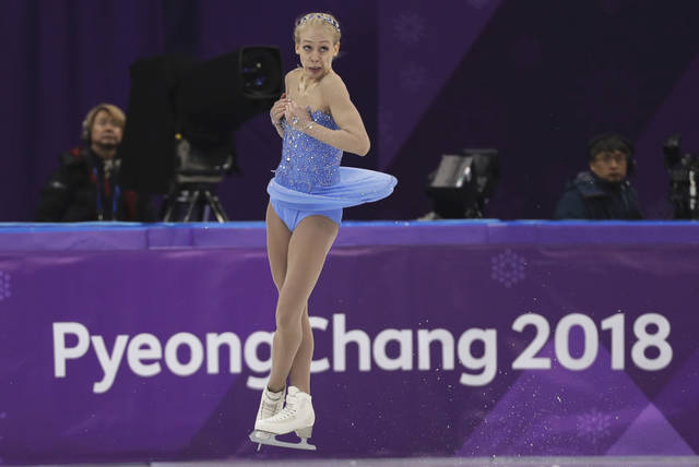 FILE - In this Feb. 23, 2018, file photo, Bradie Tennell of the United States performs during the women's free figure skating final at the 2018 Winter Olympics in Gangneung, South Korea. The whirlwind rise of Tennell began at last year's U.S. Figure Skating Championships, where the sprightly teenager stunned a field of veterans to claim her first national title, and with it a spot on the American team headed to the Winter Olympics. Now she's back to defend her American title this week in Detroit, this time as the favorite.(AP Photo/David J. Phillip, File)