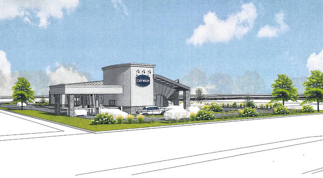 Pictured is a rendering of what the new Blue Sky Car Wash at Coughlin's Crossing in Delaware will look like once up and running.