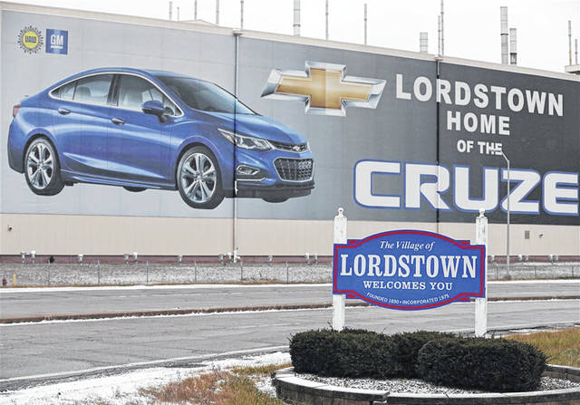 These signs greet visitors to Lordstown, Ohio.
