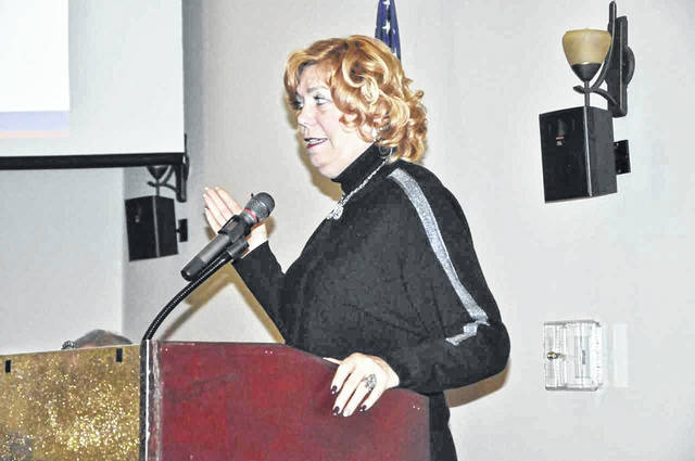 """Delaware Mayor Carolyn Kay Riggle addresses the room at the annual """"State of the City"""" presentation held at SourcePoint on Thursday, Jan. 17."""