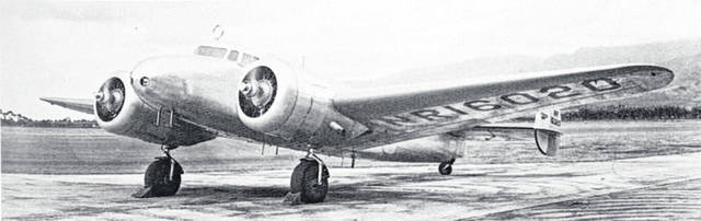 Amelia Earhart's Lockheed Model 10-E Electra, with advanced navigation equipment mounted above the cockpit.