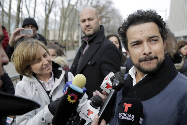 Actor Alejandro Edda talks to reporters outside federal court in the Brooklyn borough of New York, Monday, Jan. 28, 2019. The actor, who portrayed the notorious drug lord El Chapo on a Netflix series, appeared at the kingpin's trial. (AP Photo/Seth Wenig)
