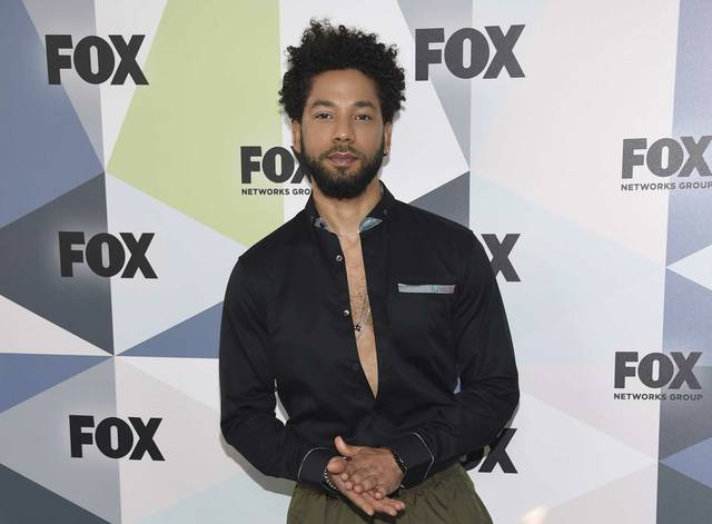 "FILE - In this May 14, 2018 file photo, Jussie Smollett, a cast member in the TV series ""Empire,"" attends the Fox Networks Group 2018 programming presentation afterparty in New York. Chicago police have opened a hate crime investigation after a man the department identified as a 36-year-old cast member of the television show ""Empire"" alleged he was physically attacked by men who shouted racial and homophobic slurs. Police wouldn't release the actor's name, but a statement from the Fox studio and network on which ""Empire"" airs identified him Tuesday, Jan. 29, 2019, as Jussie Smollett.(Photo by Evan Agostini/Invision/AP, File)"