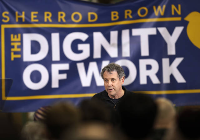 In this Jan. 30, 2019, photo, Sen. Sherrod Brown, D-Ohio, speaks at a rally in Brunswick, Ohio. The clearest path for Democrats to return to the White House runs straight through the upper Midwest, fueling debate over who is best positioned to recapture the region's working-class voters who broke for President Donald Trump in 2016. Though the first prominent Democrats to announce their 2020 candidacies hail from the coasts, several Midwestern natives, including Brown and Sen. Amy Klobuchar, D-Minn., are offering themselves as potential contenders uniquely attuned to the region's priorities. (AP Photo/Tony Dejak)
