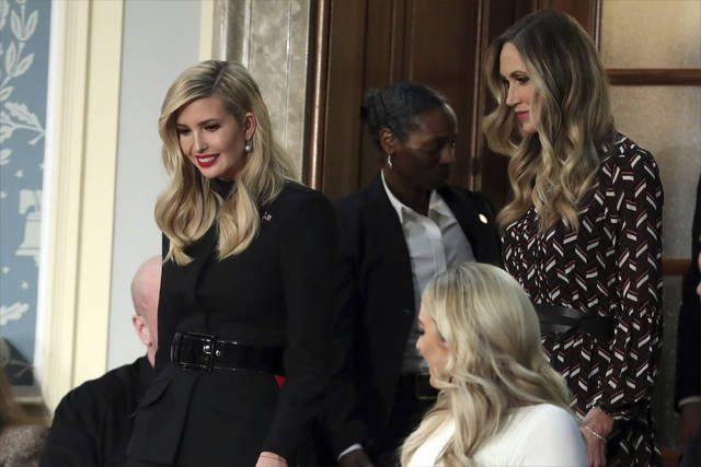 Ivanka Trump, left, and Lara Trump arrive to hear President Donald Trump deliver his State of the Union address to a joint session of Congress on Capitol Hill in Washington, Tuesday, Feb. 5, 2019. Tiffany Trump is at bottom right. (AP Photo/Andrew Harnik)