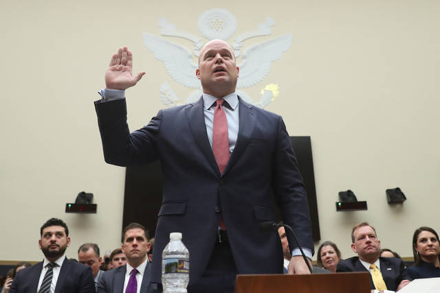 Acting Attorney General Matthew Whitaker is sworn in before the House Judiciary Committee on Capitol Hill, Friday, Feb. 8, 2019 in Washington.  (AP Photo/Andrew Harnik)
