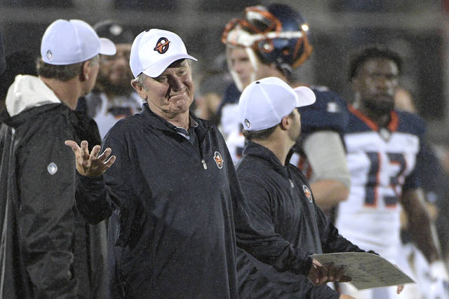 Orlando Apollos coach Steve Spurrier reacts after a play during the second half of the team's Alliance of American Football game against the Atlanta Legends on Saturday, Feb. 9, 2019, in Orlando, Fla. (AP Photo/Phelan M. Ebenhack)