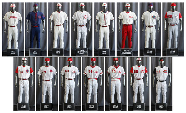 "In this compilation image, the entire Cincinnati Reds baseball team uniform lineup for the 2019 season is displayed, Friday, Jan. 25, 2019, in Cincinnati. The Reds will play games in 15 sets of throwback uniforms, including navy blue and a ""Palm Beach"" style, during a season-long celebration of the 1869 Red Stockings who pioneered professional baseball. (AP Photo/John Minchillo)"