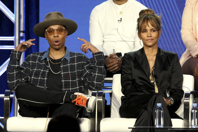 "Lena Waithe, left, and Halle Berry participate in the ""Boomerang"" panel during the BET presentation at the Television Critics Association Winter Press Tour at The Langham Huntington on Monday, Feb. 11, 2019, in Pasadena, Calif. (Photo by Willy Sanjuan/Invision/AP)"