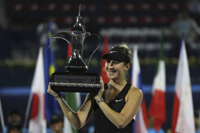 Switzerland's Belinda Bencic holds her trophy after defeating Czech Republic's Petra Kvitova during their final match of the Dubai Duty Free Tennis Championship in Dubai, United Arab Emirates, Saturday, Feb. 23, 2019. (AP Photo/Kamran Jebreili)