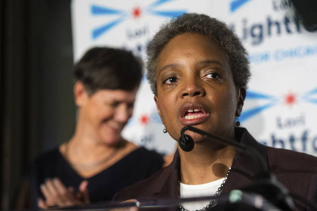 Chicago Mayoral candidate Lori Lightfoot addresses the crowd at her election night party as she leads in the polls, Tuesday, Feb. 26, 2019, in Chicago. Lightfoot, a federal prosecutor running as an outsider, advanced Tuesday to a runoff for Chicago mayor, a transitional election for a lakefront metropolis still struggling to shed its reputation for corruption, police brutality and street violence. (Tyler LaRiviere/Chicago Sun-Times via AP)