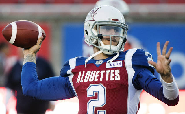 FILE - In this Friday, Sept. 14, 2018 file photo, Montreal Alouettes quarterback Johnny Manziel throws a pass during warmups before a CFL football game against the BC Lions in Montreal. Johnny Manziel's time in the Canadian Football League is over. The CFL terminated the 2012 Heisman Trophy winner's contract with the Montreal Alouettes on Wednesday, Feb. 27, 2019. The league also informed the eight other teams that it wouldn't register a contract for Manziel if any tried to sign him.  (Graham Hughes/The Canadian Press via AP, File)