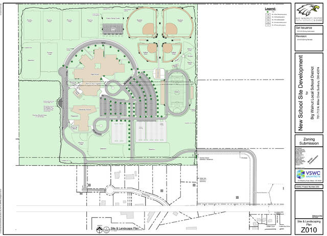 This drawing shows the site plan for (top-to-bottom) proposed athletic fields, high school, and elementary school.