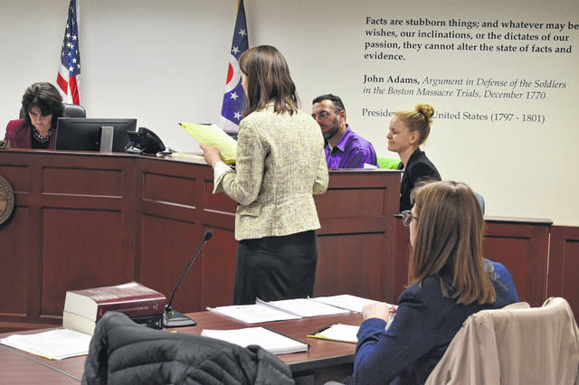 Hayes freshman Mary Grace Duffy delivers closing arguments to the judges in the case, played by local attorneys, Friday, Jan. 18. Duffy said she enjoyed participating in the competition and learning about how the court system works.