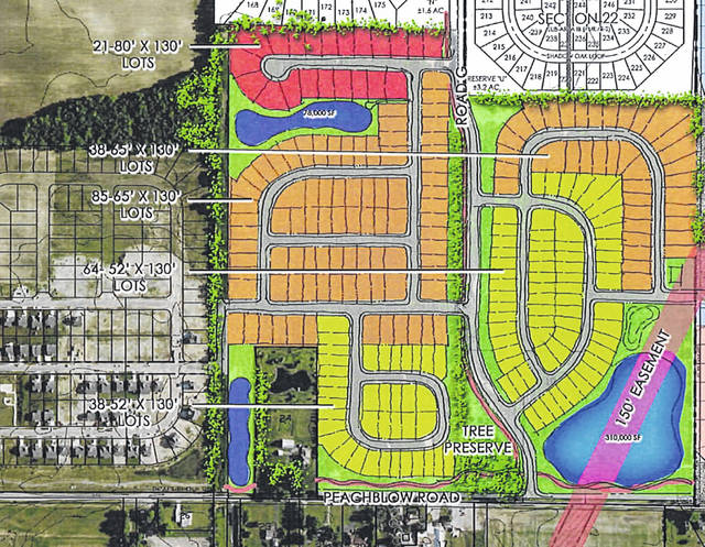 Pictured is a concept plan for the proposed Grden property on Peachblow Road in Delaware. The proposed development, located east of the Belmont Place subdivision, is shown in color.