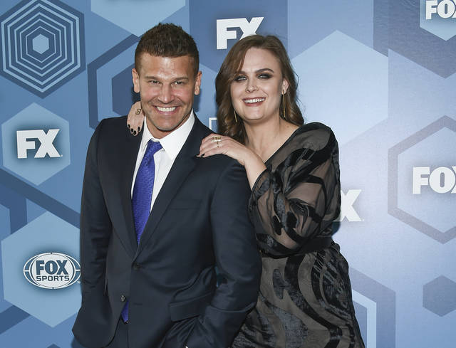 "FILE - In this May 16, 2016 file photo, David Boreanaz and Emily Deschanel attend the FOX Networks 2016 Upfront Presentation Party in New York. An arbitrator has ordered 21st Century Fox to pay $179 million in a dispute over profits with the stars of the long-running Fox TV show ""Bones."" Boreanaz and Deschanel, the stars of ""Bones"" from 2005 through 2017, sued Fox in 2015, saying it denied them profits by licensing the show to Fox's TV division and to Hulu for below-market rates. (Photo by Evan Agostini/Invision/AP, File)"
