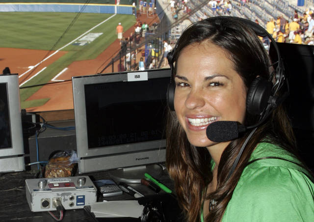 "FILE - In this May 29, 2009, file photo, USA softball player Jessica Mendoza poses for a photo in the ESPN broadcast booth at the Women's College World Series in Oklahoma City. Mendoza has been hired as a baseball operations adviser for the New York Mets while remaining a broadcaster for ESPN's ""Sunday Night Baseball."" The move, announced Tuesday, March 5, 2019, is part of an increasing number of television commentators who also work for teams. (AP Photo/File)"