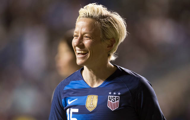 "FILE - In this Feb. 27, 2019, file photo, United States' Megan Rapinoe reacts after scoring goal during the first half of SheBelieves Cup soccer match against the Japan in Chester, Pa. Just a bit of fine tuning and Rapinoe will be ready for the World Cup. While she's physically fine at this point, Rapinoe said she isn't as ""sharp"" as she'd like to be. (AP Photo/Chris Szagola, File)"