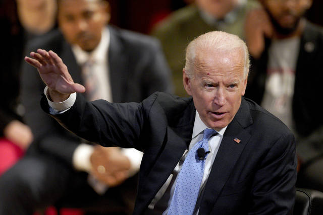 In this Feb. 28, 2019, photo, former Vice President Joe Biden speaks at the Chuck Hagel Forum in Global Leadership, on the campus of the University of Nebraska-Omaha, in Omaha, Neb. On the cusp of a decision, Biden is weighing at least one daunting challenge that could complicate his path to the Democratic presidential nomination: Money. (AP Photo/Nati Harnik)