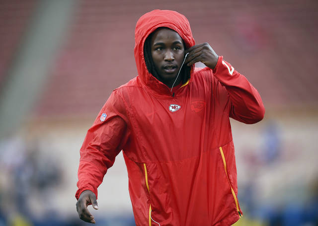 "FILE - In this Nov. 19, 2018, file photo, Kansas City Chiefs running back Kareem Hunt warms up before an NFL football game against the Los Angeles Rams, in Los Angeles. The NFL has suspended Browns running back Kareem Hunt for eight games after a video showed him kicking a woman and he was later involved in a fight at a resort. The league on Friday, March 15, 2019, cited a violation of its personal conduct policy ""for physical altercations at his residence in Cleveland last February and at a resort in Ohio last June."" Hunt will not be paid during the half-season suspension, which he will not appeal.  (AP Photo/Kelvin Kuo, File)"
