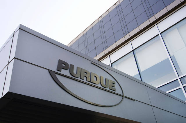 FILE - This Tuesday, May 8, 2007 file photo shows the Purdue Pharma logo at their offices in Stamford, Conn. The company that has made billions selling the prescription painkiller OxyContin says it is considering bankruptcy as one of several possible legal options, in an email to The Associated Press.  (AP Photo/Douglas Healey, File)